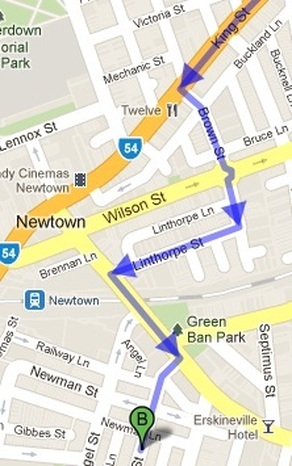 Source: Google Maps (King to Gowrie St, Newtown, Sydney).